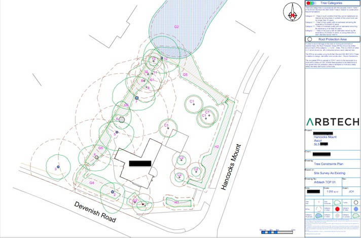 Tree Constraints Plan Drawing BS5837