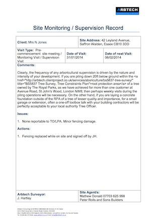Arboricultural Site Supervision Report