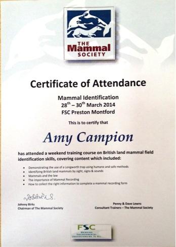 Mammal Society Certificate Arbtech