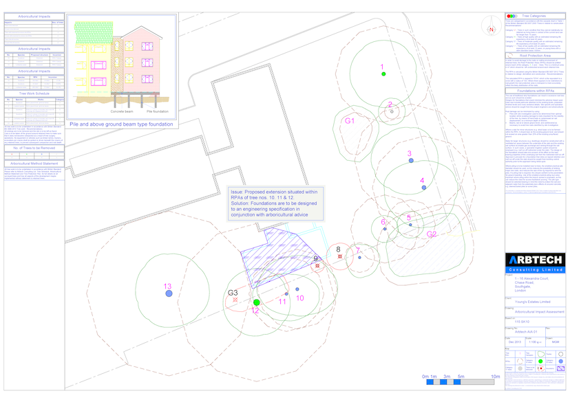 BS5837 arboricultural impact assessment drawing