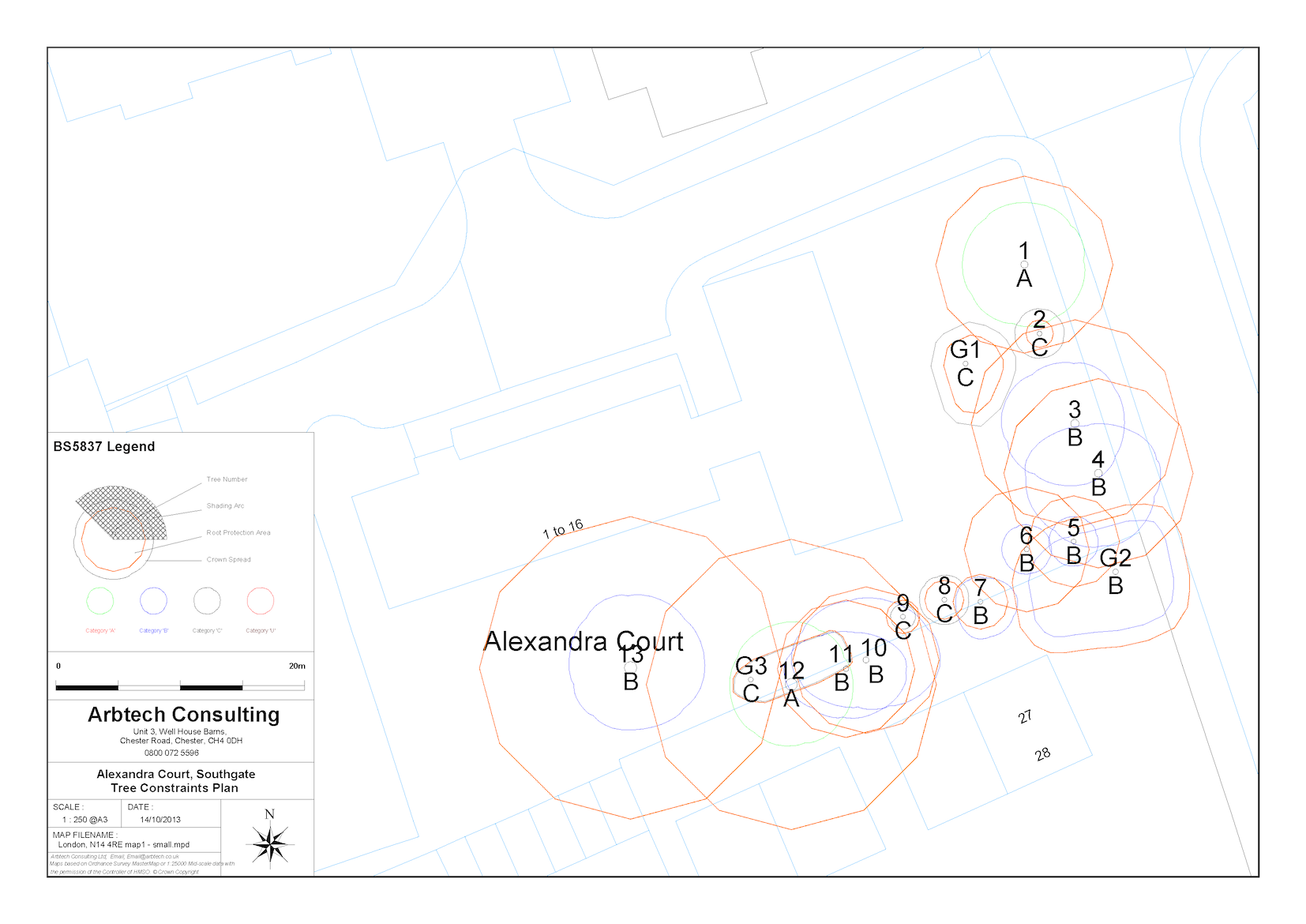 Tree Constraints Plan drawing