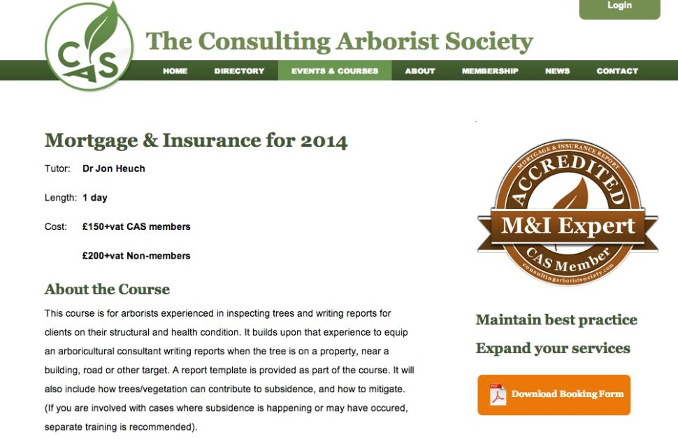 Consulting Arborist Society Mortgage Tree Report Course  Arbtech