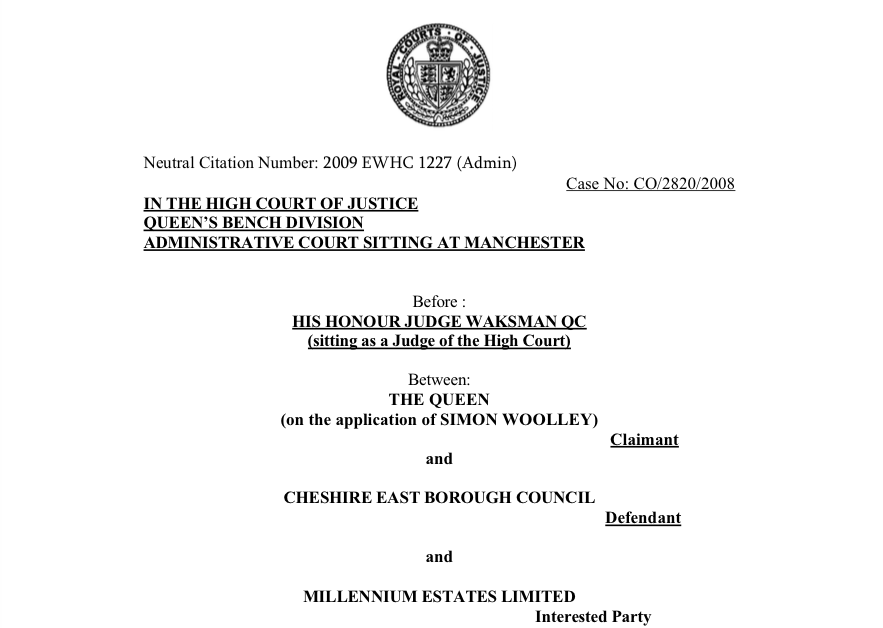 R (on the application of Simon Woolley) v Cheshire East Borough Council